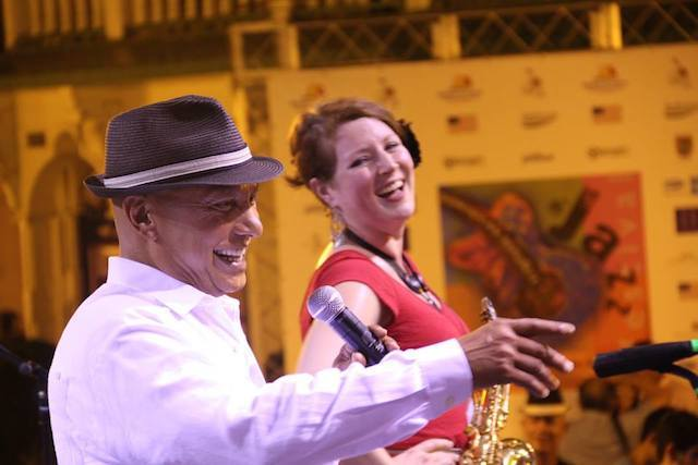 Colin Hunter with saxophonist Alison Young. Photo courtesy of Dominican Republic Jazz Festival